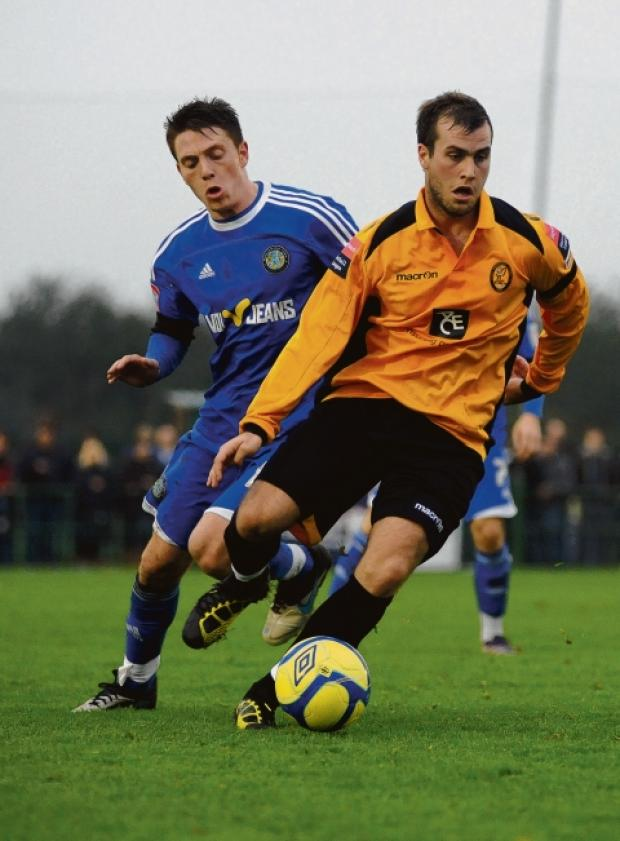 Basildon Recorder: Sam Higgins whose brace of goals sealed victory for East Thurrock