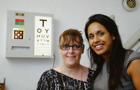 Lifesaver – Donna Lambert with optician Reshma Patel