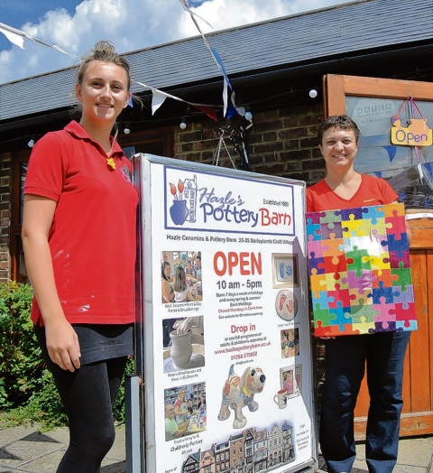 Countdown – Donna Phelps, with one of her paintings, and Katy Willett, from Hazle's Pottery Barn, at the Barleylands Craft Village which launches its first solo art trail