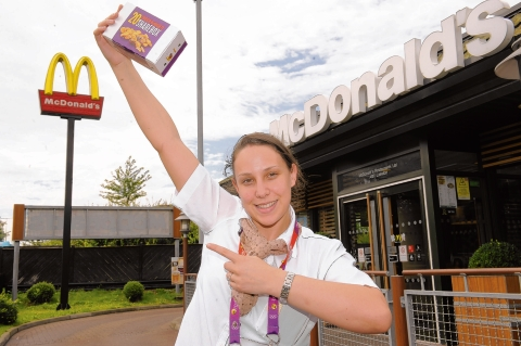 Lovin' it - Charlotte Oliffe back at the Festival Leisure Park McDonald's with a box of nuggets
