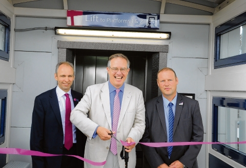 MP John Barron performs the opening, watched by c2c managing director Julian Drury and station manager Paul Bassett