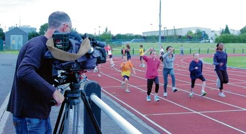 Sky Sports cameras filming at Basildon AC