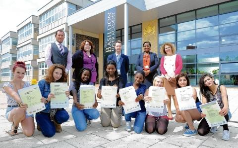 Celebrating – Basildon Upper Academy pupils with teachers, left to right, Neil Moir, Ginny Parry, headteacher Dr Fox, Allison  Moise-Dixon and Shereen Breslin