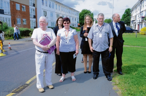 Councillor Phil Rackley with estate officers from Basildon Council