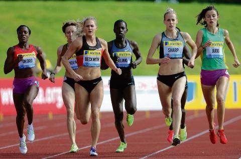 Jessica Judd in action at the Birmingham Diamond League meeting