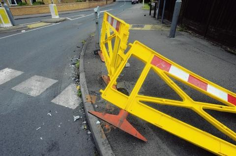 The crash barrier after Tuesday night's crash