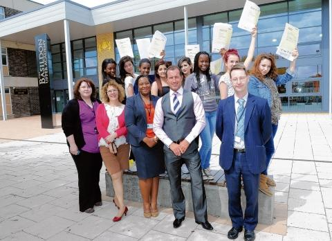 Success – Dr Rory Fox and staff with GCSE pupils from Basildon Upper Academy