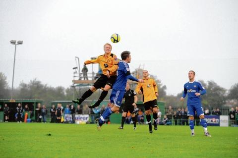 East Thurrock's Reiss Gilbey in action during their FA Cup clash with Macclesfield last year.