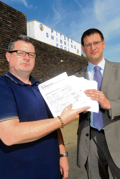 Campaigner Malcolm Chapman and Labour councillor Byron Taylor with the pool petition