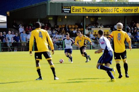 Action from East Thurrock's 2-0 FA Cup win over Witham Town on Saturday.