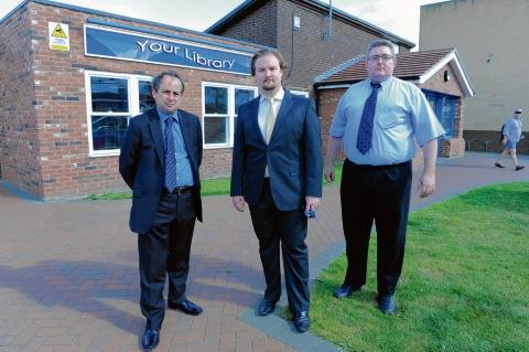 Under attack - Thurrock councillors Mark Coxshall, James Halden and Rob Gledhill outside Corringham Library