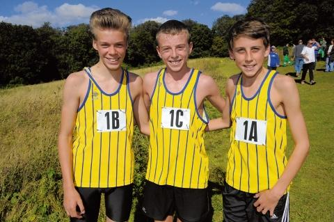Basildon AC's under-15 boys winning team: Ollie Cantwell, Daniel Ashley and Max Jones