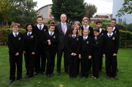 Head of School Stuart Reynolds and students at the James Hornsby School
