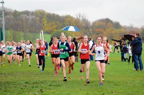 Isobel Ives leads the intermediate girls race with  Southend High School for Girls' Natasha May (58), FitzWimarc's Millie Smith (17) and King John's Kiera Tippett (34) all in contention