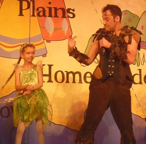 Katie Davies, eight, was invited to join the stars of Peter Pan on stage during the Christmas Eve performance at the Towngate Theatre