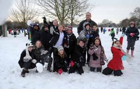 Children at Wickford Junior School have fun in the snow