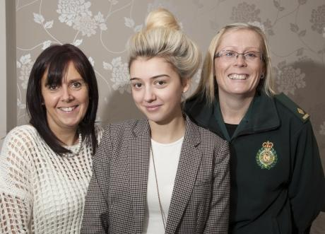 Danielle Dresou, 19, with mum Julie and paramedic Nikki Wyatt