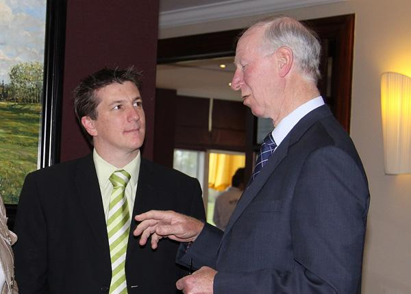 Matthew Ames with Jack Charlton at a Forestry for Life launch