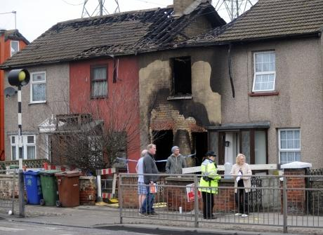 The gutted house in London Road, Grays