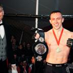 Basildon Recorder: Richard Buskin after winning the lightweight UFW champion belt