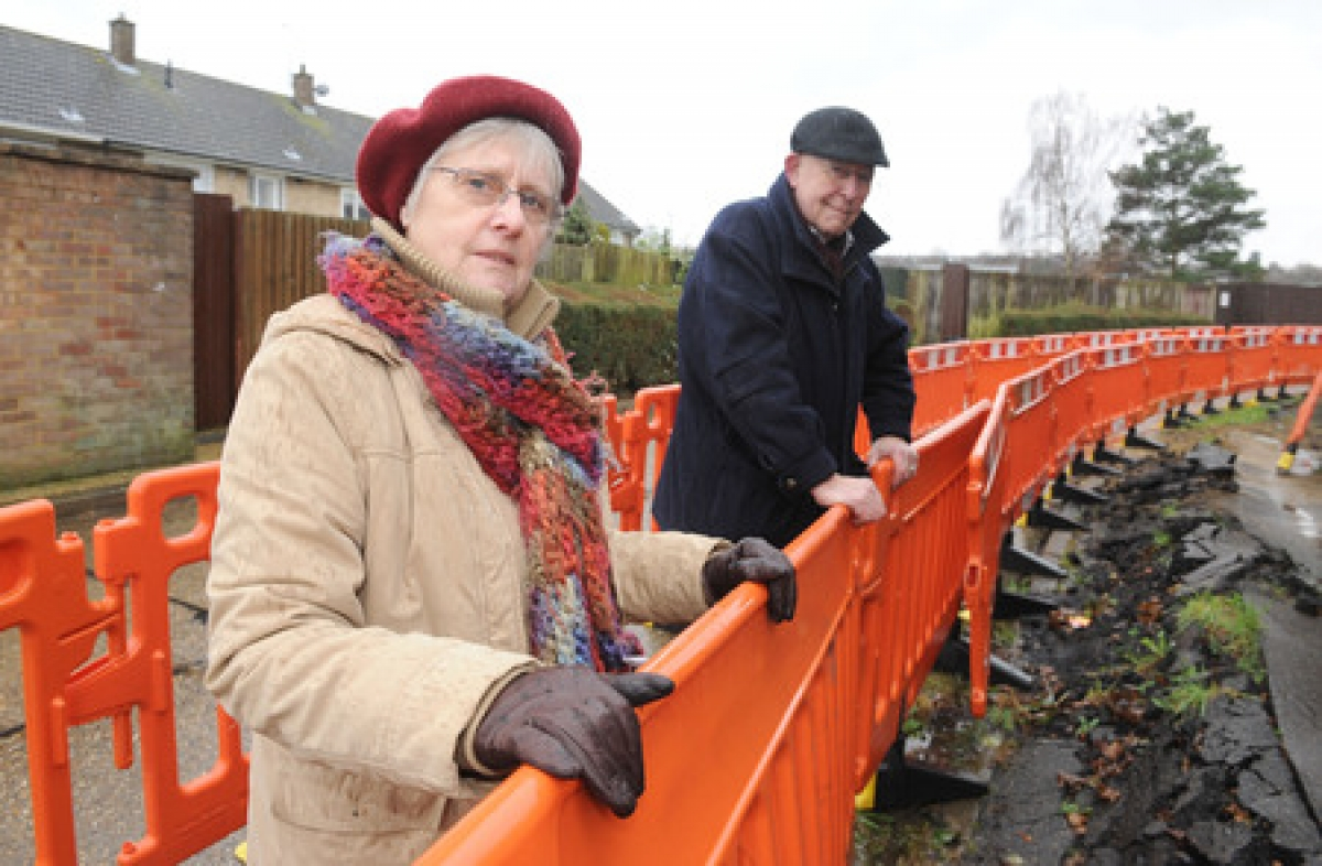 Threats to safety – Geoff and Linda Williams by the Great Gregorie roadworks which have been fenced off for six months