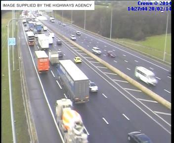 A Highways Agency traffic camera showing slow moving traffic heading for Brentwood just after J29 of the M25