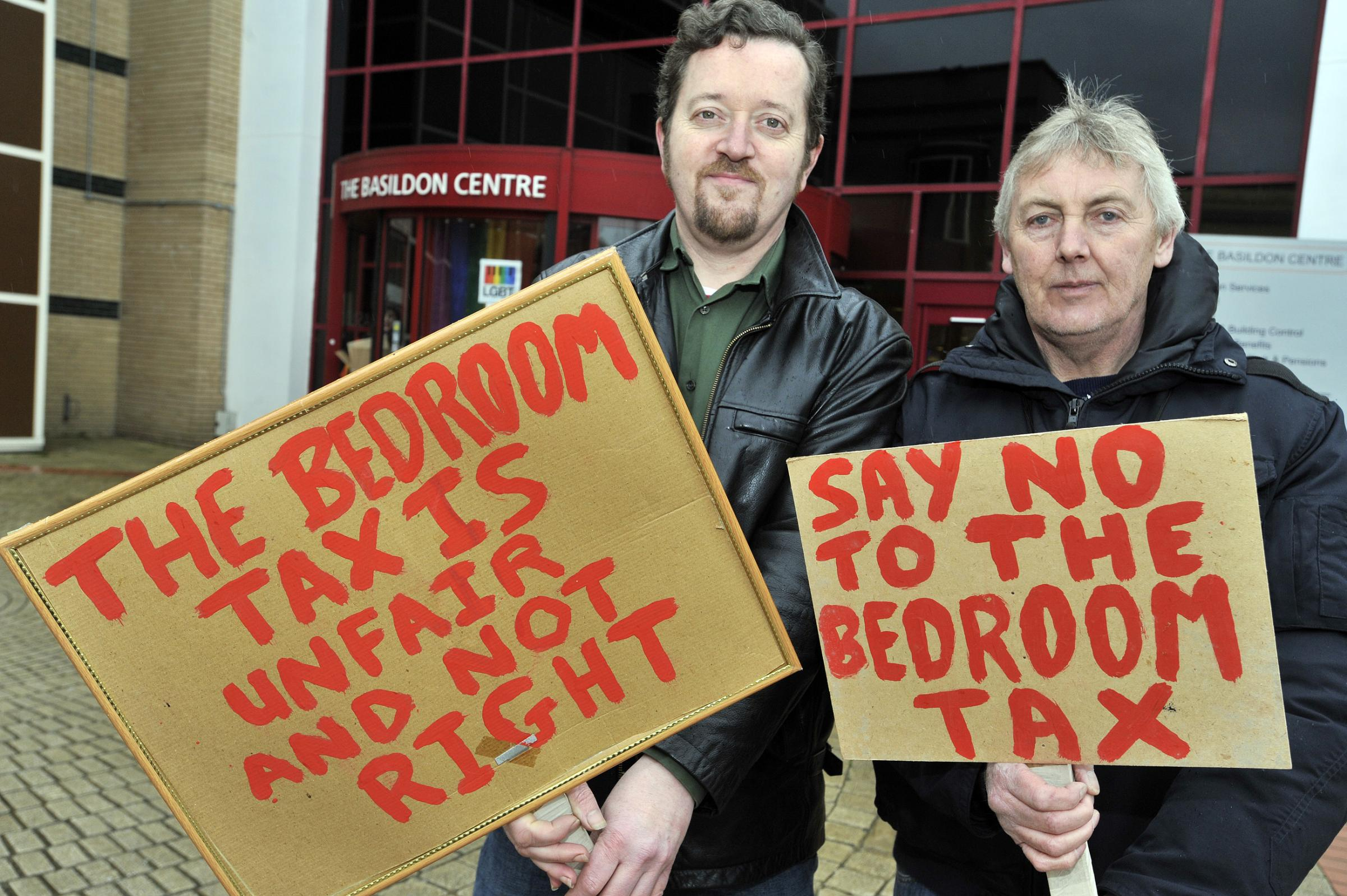 Dave Murray, founder of Basildon Residents Against Bedroom tax and Tony Livesey campaigning outside the Basildon Centre