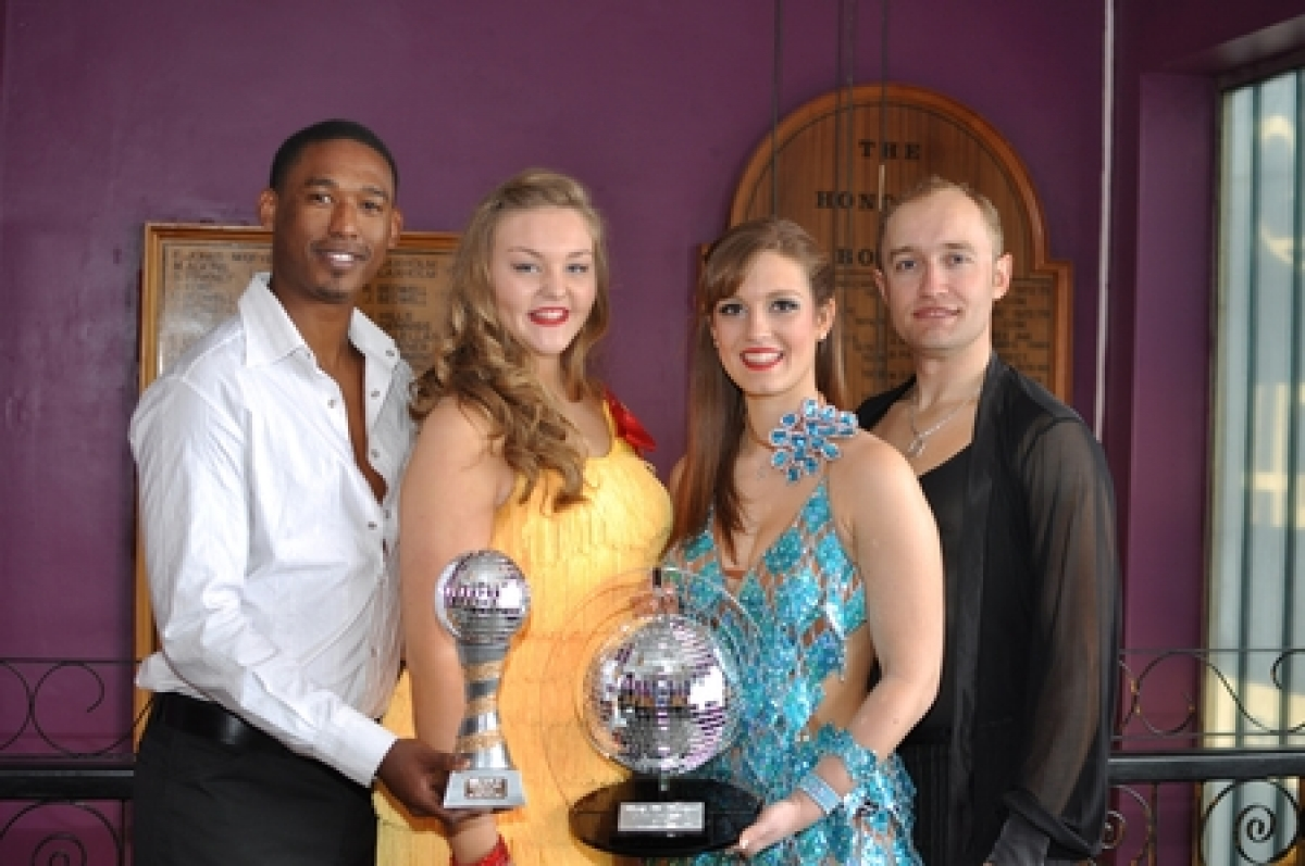 Cha-cha champions – Petar Pavlovic, Sarah Grace, Olivia Sutcliffe and Reggie Manus with their glitter ball trophies
