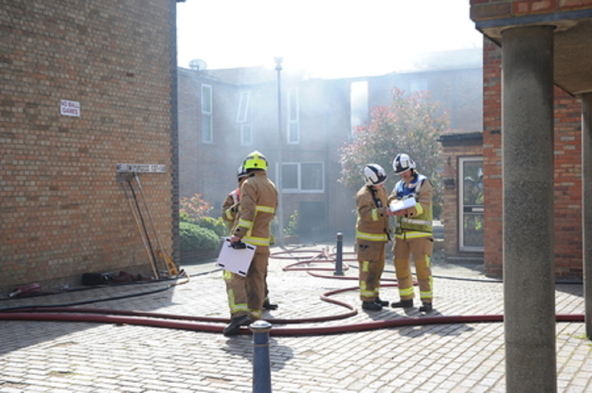 Under control - firefighters at the scene in Mellow Purgess, Laindon