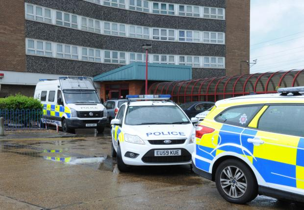 Police at the flats in Chadwell St Mary, Thurrock