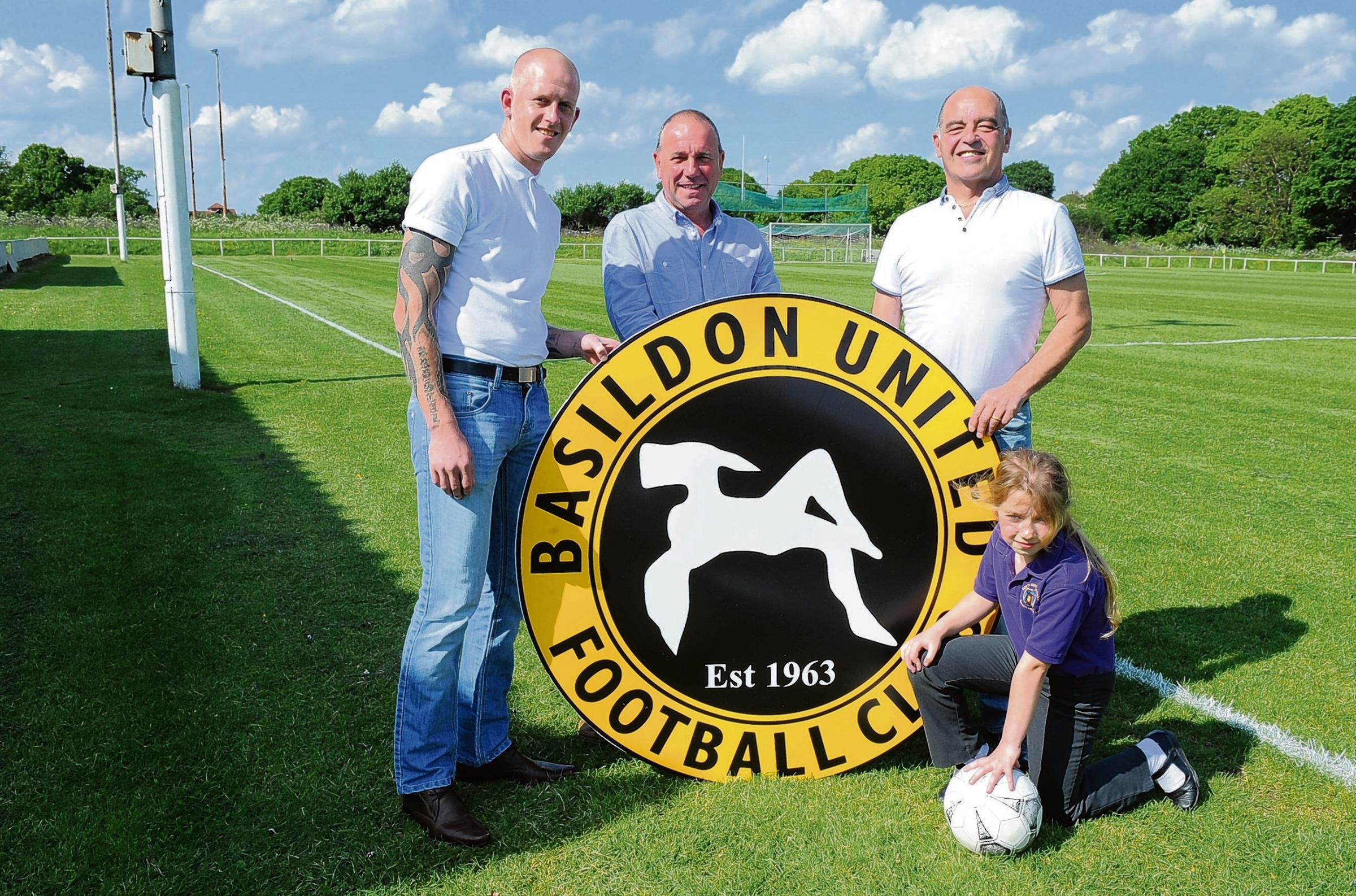 The new Basildon United management team of assistant manager Craig Gillam, chairman David Maxwell, manager Colin Cook and mascot Angel Maxwell