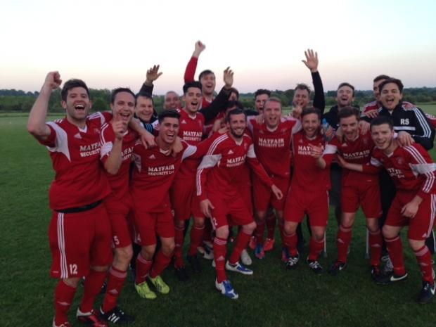 Rob Small (far right) winning last season's premier division with Southminster St Leonards