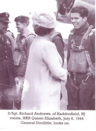 Last survivor – Richard Andrews, pictured in 1944 talking to Queen Elizabeth, was on-board one of the B-17 Flying Fortresses