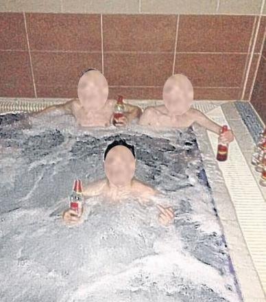What Twits! Teen burglars got into gym and drank stolen booze in hot tub – but were caught after posting this on Twitter
