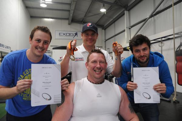 All gold – Robin Womack with staff from Excel Gym where he trains, Simon McCoy, Craig Maddocks and Ashley Laker
