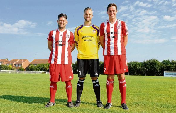 New look – Bowers' players Scott Pethers, Sean Hinton and Jamie Salmon model the club's new red and white striped kit