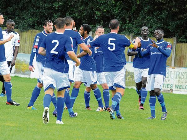 Billericay Town celebrate the first goal