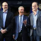 Basildon Recorder: Ukip leader Nigel Farage, centre, and new Ukip MP Douglas Carswell, right, join candidate Mark Reckless on the campaign trail for the upcoming Rochester and Strood by-election