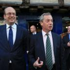 Basildon Recorder: Ukip Leader Nigel Farage (right) with Mark Reckless, Ukip candidate for Rochester and Strood during a campaign walkabout in Rochester High Street, Kent