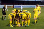 Emotional - Tony Stokes is surrounded by his teammates after making it 2-0 to Concord Rangers against Billericay Town
