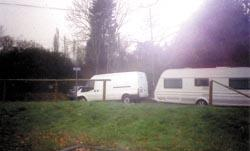 Basildon Recorder: On their way  one of the travellers leaves the Dale Farm site