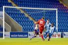 Slotting home – Chris Bryan scores to give Bowers the lead     Picture: SUSAN WATTS